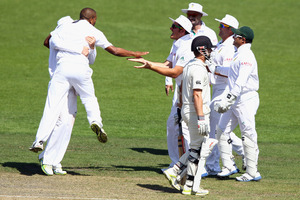 Vernon Philander of South Africa celebrates the wicket of Kane Williamson of New Zealand. Photo / Getty Images