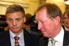 Nick Smith with Bill English after giving his resignation at Parliament. Photo / Getty Images