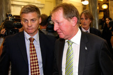 Nick Smith leaves Parliament House with Bill English after giving his resignation at Parliament Photo / G