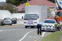 The scene where an unemployed Christchurch man was shot by police after an armed rampage. Photo / Geoff Sloan