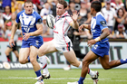 James Maloney scores a try against the Canterbury Bulldogs. Photo / Richard Robinson