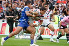 Kevin Locke makes a dive for the try line for a disallowed try against the Canterbury Bulldogs. Photo / Richard Robinson