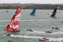 Teams leave Auckland at the start of the Volvo Ocean Race. Photo / Steven McNicholl