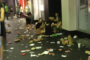 Litter is strewn outside McDonald's on Quay St on Saturday.  Photo / Supplied
