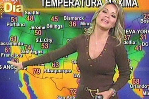 Kyle Hunter is raining on the parade of 'auto-cutie' TV weather presenters. Mary Gamarra fits the picture perfect image. Photo / Supplied