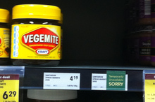 No Marmite on the shelves at an Auckland supermarket. Photo / APNZ