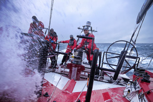 Daryl Wislang driving at high speed in the Southern Ocean onboard CAMPER. Photo / Hamish Hooper