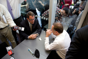 John Banks and John Key's chat was said to be confidential despite the invited media presence. Photo / Dean Purcell