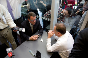 National Party leader John Key and Act Party member John Banks during the teapot tape saga. Photo / Dean Purcell