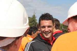 Dan Carter visits the Christchurch Stadium. Photo / Christchurch Star