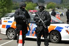 Police roadblock in the Ruatoki Valley, near Whakatane, during the 2007 anti-terrorism raids. Photo / Alan Gibson