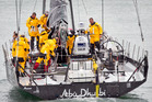 The crew of the Abu Dhabi set sail from Viaduct Harbour again after deciding to return to Auckland to repair a bulkhead which got damaged in heavy seas last night.  Photo / Natalie Slade