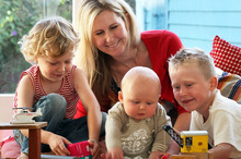 Rachel Grunwell and her three boys, Lachlan Buckley, 4 (left); Finn, 7 months, and Zach, 6. Photo / Janna Dixon