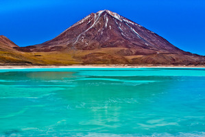 Salty Laguna Verde (the green lagoon) at the foot of Bolivia's Licancabur volcano. Photo / Creative Commons image by Wikimedia user Pedro Szekely