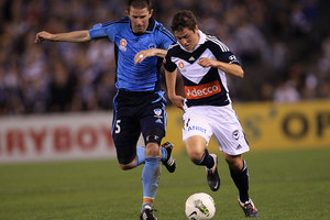 Marco Rojas in full flight for the Melbourne Victory. Photo / Getty Images.