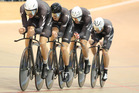 The men's team pursuit team will be without Jesse Sergent, front, at next month's UCI world track cycling championships.  Photo / Envious Photography-BikeNZ