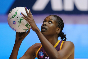 Romelda Aiken of the Firebirds shoots during the ANZ Championship Semi Final match between the Firebirds and the Magic. Photo / Getty Images
