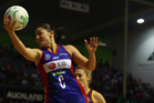 Temepara George of the Mystics secures the ball during the round seven ANZ Championship match between the Mystics and the Firebirds. Photo / Hannah Johnston