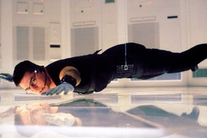 Tom Cruise in a scene from the first Mission: Impossible film.