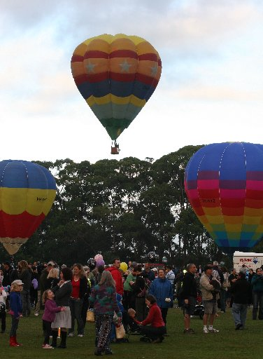 A mass ascension of hot air ballons as Balloons Over Waikato gets under way.