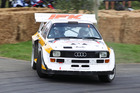 Andrew Hawkeswood takes a brave passenger for a run in his Audi Quattro S1 replica. Photo / Mark Christensen
