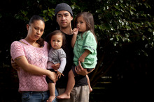 Tammylee Rapana and her partner Theodore, with their two small children. Photo / John Cowpland