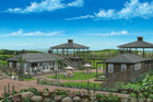 An artist's impression of the new EcoZip Adventures visitor centre to be built on Waiheke Island in time for next summer. Photo / Supplied