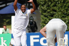 Vernon Philander celebrates after trapping New Zealand opener Martin Guptill, lbw.