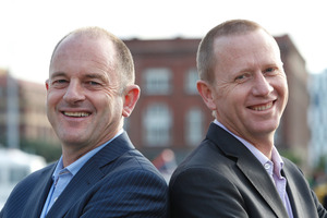 Labour leader David Shearer, left, and Green party co-leader Russel Norman after having their heads shaved to raise money for Leukaemia and Blood Cance NZ. Photo / Mark Mitchell