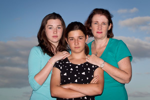 Fiona Campbell and her daughters Iona (left) and Isabel and (right).  Photo / Richard Robinson