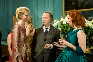 Fabrice Luchini (centre) falls for a small colony of spanish maids in The Women on the 6th Floor. Photo / Supplied