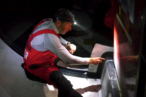 Camper were forced to slow down for repairs. Photo / Hamish Hooper/CAMPER ETNZ/Volvo Ocean Race