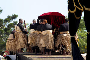 The casket of George Tupou V made its stately way to the Royal Tombs in Nuku'alofa at the funeral yesterday.  Photo / Sarah Ivey