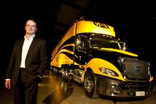 Gough's Karl Smith with the Cat CT630 truck. Photo / Richard Robinson
