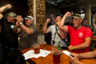 Unionists at the Auckland Maritime Club greet the news that the Ports of Auckland lockout is over. Photo / Brett Phibbs
