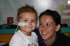 Three-year-old Chace Topperwien and his mother Keri at Royal Marsden Hospital in Surrey, near London. Photo / Supplied
