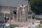 The partially collapsed Christchurch Cathedral. Photo / Mark Mitchell