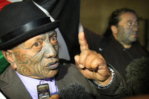 Tame Iti talks with media outside the High Court in Auckland. Photo / Greg Bowker