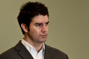 Brad Callaghan in court yesterday as he was sentenced for killing Carmen Thomas. Photo / NZ Herald