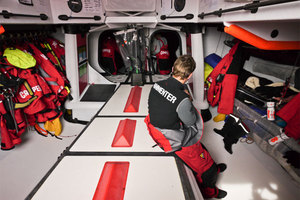 A quiet change of watch onboard CAMPER with Emirates Team New Zealand during leg 5 of the Volvo Ocean Race 2011-12. Photo / Hamish Hooper.