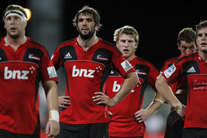 Crusaders team mates during round five Super Rugby match between the Crusaders and the Cheetahs. Photo / Getty Images.