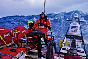 Tony Rae and Adam Minoprio wrap up warm on the deck of Camper as the boat takes a hammering in the Southern Ocean. Picture / Hamish Hooper - Camper