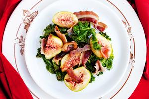 Fresh fig, crisp bacon and kale. Photo / Babiche Martens