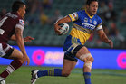 Jarryd Hayne of the Eels runs the ball during the round five NRL match between the Parramatta Eels and the Manly Sea Eagles. Photo / Getty Images.