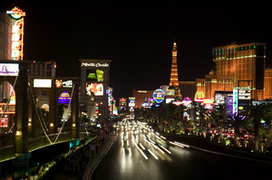 Casinos and hotels light up the Strip with their flashy signs. Photo / Thinkstock
