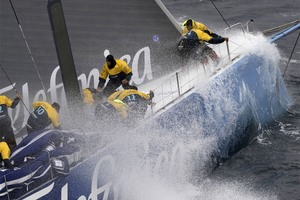 Team Telefonica are the third team to suffer damage in the latest leg of the Volvo Ocean Race. Photo / Paul Todd-Volvo Ocean Race