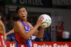 Grace Rasmussen of the Mystics looks to pass during the round four ANZ Championship match. Photo / Sandra Mu