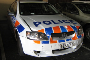 The damaged patrol car. Photo / supplied