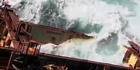 Watch: Raw Video: Rena pounded by massive swells