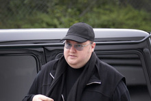 Megaupload founder Kim Dotcom arriving back at North Shore District Court today seeking changes to his bail conditions. Photo / Sarah Ivey